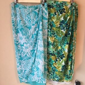 2 Dana Buchman Sarong Wrap Skirts Cotton Silk